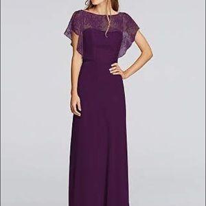 JENNY PACKHAM Plum Lace & Chiffon Long Dress